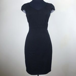H&M Black Sheath Dress with Short Sleeves Size 6